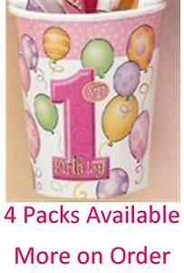 1st Birthday Pink Balloons Party Cups 9oz