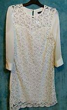 Lace Shift Dress Size 14 Cream White Knee Length 3/4 Sleeve Heart Design Bust