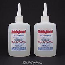 THICK CA Glue - Super Glue - (TWO) - 2 oz. Bottles - Hobbybond Cyanoacrylate