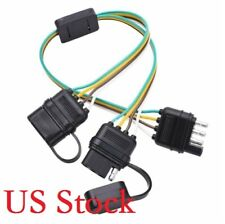 1x Flat 4Pin Male + 2x 4Pin Female Connectors Y-Splitter Harness Towing