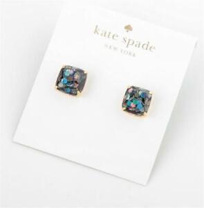 Kate Spade New York Black Multi Mini Square Glitter Stud Earrings