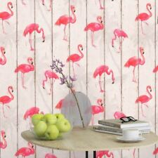 Bird Wallpaper Flamingo Washable Grey Pink Wooden Boards Embossed Vinyl By Rasch