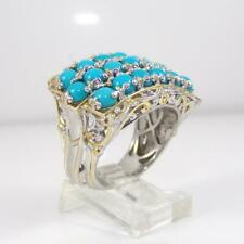 Michael Valitutti Sterling Silver Blue Turquoise Cluster Ring Sz 9 LFJ3