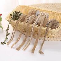 5-10M Jute Burlap Hessian Ribbon With Lace Trim Edge Wedding Party DIY Craft