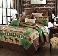 Moose Wilderness King Size Quilt Set Bedding Home Lodge