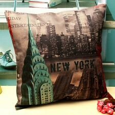 Vintage Retro New York City Linen Pillow Case Cushion Cover Home Decor 45 x 45CM