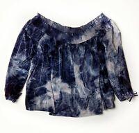 American Eagle Velvet Off Shoulder Top Womens XL Blue Tie Dye 3/4 Sleeves