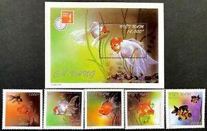Viet-Nam 1997 Goldfish Stamps Complete set of 5 + MS values MUH