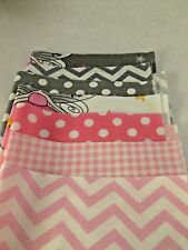 Fabric Squares - Fairies, Chevrons, Pinks, greys - 25 x 20cm - Pack of 7