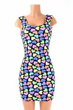 LARGE UV Glow Neon Candy Hearts Spandex Bodycon Tank Dress Ready To Ship!