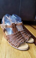 KORK EASE Sandals Shoes Heels Wedge Brown Leather Strappy Size US 9/Eur 40.5