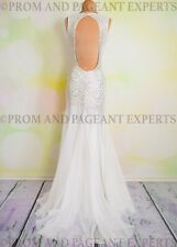 Sexy White Jasz Couture Pageant Prom Long Evening Sheer Formal Gown Dress 2