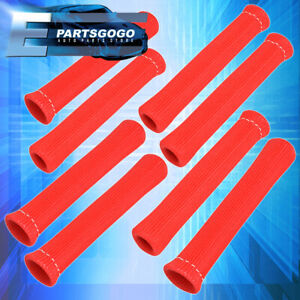"""For Acura 8Pcs 7"""" Spark Plug Wire Shield Sleeve Insulation Cover Jdm Vip Red"""