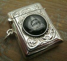 English Hallmarked Sterling Silver & Enamel Masonic Vesta Case Match Safe