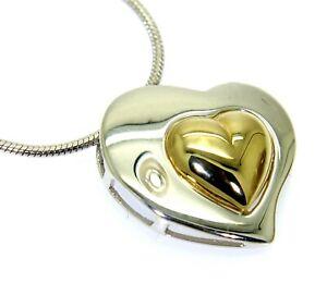 """Floating Heart 9ct White & Yellow Gold Slider Pendant + 18"""" Snake Chain"""