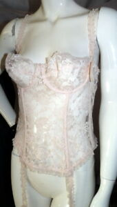 NEW W/TAGS Vintage 36L FREDERICKS OF HOLLYWOOD Lace Blush Pink Bra Corset BRIDAL