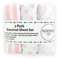3 Pack Bassinet Fitted Sheet Set 100% Jersey Pink Cotton Baby Girl NODNAL CO.