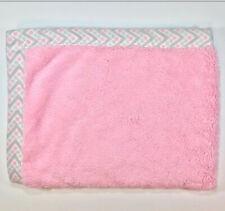 "Just Born Baby Blanket Plush Pink Gray Dots 40"" x 30"" Super Soft EUC"
