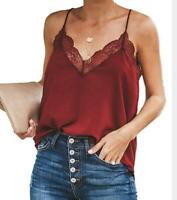 Women Lace Vest Sleeveless Loose Camisole Casual V-Neck Tank Tops Blouse T-Shirt