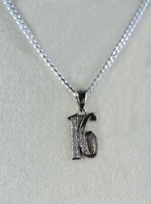 Sweet 16 Number Pendant Necklace Bright silver Rhodium plated Cubic Zirconia