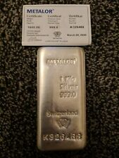 More details for metalor 1kg silver 999 bar with certificate of authenticity