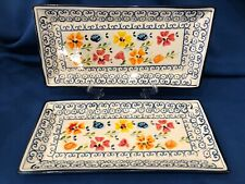 2 Gibson Elite Luxembourg Serving Platters Trays ~ Appetizers Sushi OVEN SAFE #1