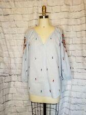 VELVET BY GRAHAM & SPENCER  shailene embroidered beaded blouse blue tunic boho M