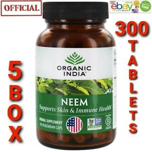 Organic India Neem USA OFFICIAL 5BOX 300 Capsules Supports Overall Immunity&Skin