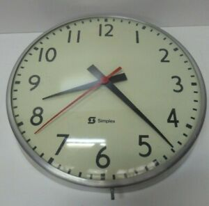 HUGE VINTAGE MID CENTURY ELECTRIC WALL CLOCK SIMPLEX METAL INDUSTRIAL SCHOOL