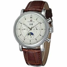 Forsining Men's Business Automatic Calendar Moon Phase Dail Brand Leather Strap