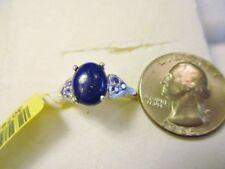 Lapis Lazuli Solitaire Cabochon Ring, sz.9/2.96tcw/ Purple Diamond(sim)/.925STS