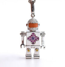 Louis Vuitton Diamond & Sapphire Space Man Pendant & Chain, 18k Gold, Charm, Box