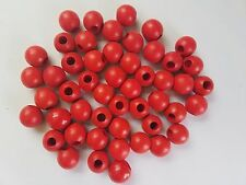 "Lot of 50 Red Wood Round Macrame Wooden Craft Plant Hanger Beads 1"" Inch 25mm"