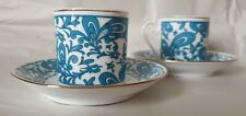 One (1) Vintage Blue Demitasse Cup & Saucer Set Gold Trim Coffee Espresso Tea