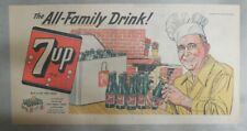 "7-Up Ad: The ""All"" Family Drink ! Let's Barbecue ! from 1950's  7.5 x 15 inches"