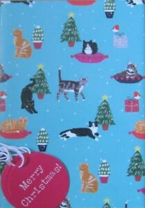 Green cat-themed Christmas Wrapping Paper (Cats Protection) - charity item