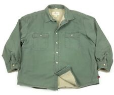 Woolrich Mens Fleece Lined Canvas Green Snap Work Shirt Jacket 2XL XXL