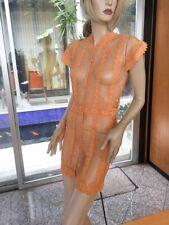 Lim'S Vintage Delicate Hand Crochet Open In Front Mini Dress, Orange One Size M