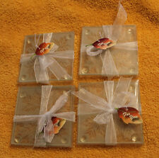 Glass Coasters Maple Leaves Sealed 8 Total Htf 2007 Fashioncraft Party Barware