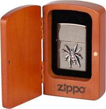 """ZIPPO LIMITED #1000 """"SPIDER SKULL"""" EBONY LASERED ENGRAVED w. SWAROVSKI CRYSTALS"""