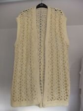 Vintage Hand-Knitted Gilet Sleeveless Open Cardigan Long-Length L XL Yellow L34""