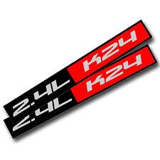 2X BLACK/RED METAL 2.4L K24  ENGINE RACE MOTOR SWAP BADGE FOR TRUNK HOOD DOOR