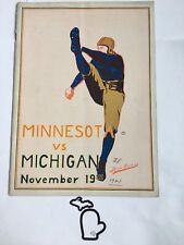 1921 Michigan v Minnesota BROWN JUG Original Football Program EX