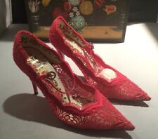 e5219b436 GUCCI 488328 Virginia Mary Jane Lace Pump Heels Shoes RED Size 8 US / 38 NEW