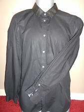 TED BAKER BLACK MEN'S SHIRT with CHECK COLLAR & CUFFS (size 5) 100% COTTON