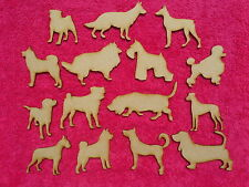 mdf wooded mixed dog novelty embellishments craft blank shapes animal set 3mm