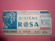LOTERIE NATIONALE DIXIEME ROSA DOUBLE CHANCE 1958