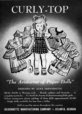Curly Top Paper Doll ALMA DEJOURNETTE DESIGN Real Flowing Hair 1948 Print Ad