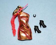 GLITTER! Chic Copper & Pink Party Dress BARBIE w/ Boots & Bracelet - NEW!