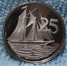 CAYMAN ISLANDS 25 CENTS 1974 Deep PROOF Mirror DMPL Coin Schooner sailing Boat